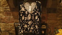 NWT Jessica Simpson Womens Junior Shirt Top Blouse Size Medium Navy Floral Cute!