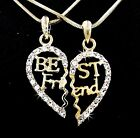 BFF Gold Tone Best Friend Heart Outlined Austrian Crystal Pendants Necklaces USA