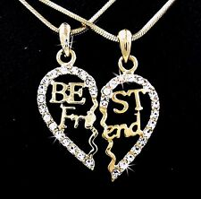 BFF Gold Tone Best Friend Heart Outlined Austrian Crystal Pendants Necklaces US2