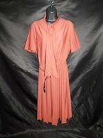 Vintage 70s Lady Carol L Rust Brown Ascot Shirt Dress Short Sleeve Pleated Skirt