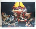 """3-D CATS PLAYING CARDS POKER HOLOGRAPHIC POSTER 11.5"""" x 15.5"""" PREOWNED"""
