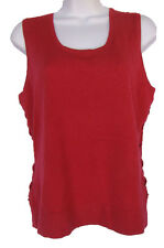 NEIMAN MARCUS Size XL Red 100% Cashmere Tank Top NWT Lace-Up Sides