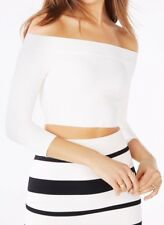 New without tag $178 BCBG Max Azria Anja Off-The-Shoulder Crop B2845 Top Sz M