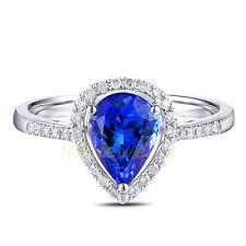 1.25CT Natural Violet-Blue Pear Tanzanite Solid 18K White Gold Diamond Ring