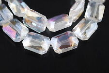 6pcs Clear AB Glass Crystal Rectangle Beads 18x12mm Spacer Jewelry Findings