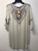 NWT JOHNNY WAS Brazillia Tunic S BLOUSE EMBROIDERED TOP SHELL IVORY FLORAL RAYON