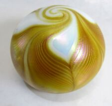 PULLED FEATHER BUTTERSCOTCH Paperweight Iridescent GLASS EYE STUDIO VTG 1983 MSH