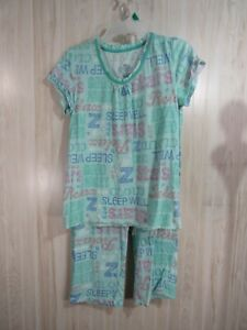 Secret Treasures 2 Piece Pajama Set Top Capri Size S Blue Words Short Sleeve