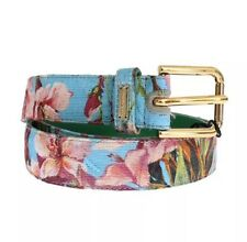 NWT £240 DOLCE & GABBANA Floral Print Leather Gold Buckle Logo Belt 70cm/28inch