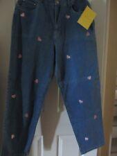 QUACKER FACTORY Indigo Embroidered Hearts 5 Pocket Stretch Jeans 16