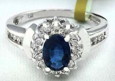 Genuine 1.07 Cts Sapphire & Diamonds 14k White Gold Ring