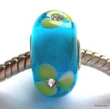 'LIME GEM FLOWER' - Blue with Lime Green Gem Flowers Murano Glass European Bead