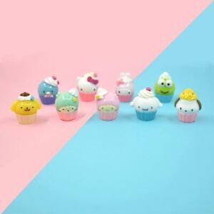 Kawaii Miniature Sanrio Character Cupcakes Keroppi Tuxedosam Cinnamoroll Pastel