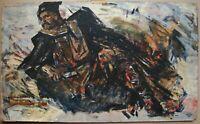 Russian Ukrainian Soviet Oil Painting cubism portrait figure cavalryman rest