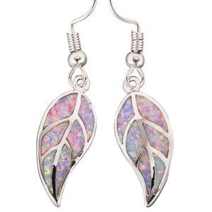 Lavender Purple Fire Opal Nature Leaf Shape Silver Jewelry Dangle Drop Earrings