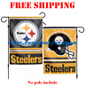 """Pittsburgh Steelers Logo Garden Outdoor Flag Double Sides 12x18"""" NFL 2019 NEW"""