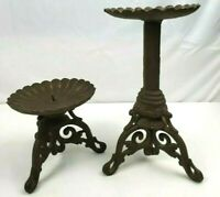 2 Vintage Wrought Cast Iron Candle Holders Black Candlestick Pair Pillar Stands