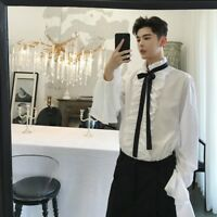 Men Gothic Shirt Top Victorian Ruffle Collar Punk Flare Sleeve Retro Fashion New