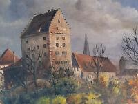 Badische Stadt mit Burganlage, original Ölgemälde sign. LEOPOLD AUGUST KRAUSE