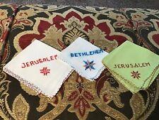 Lot of 3 Hankies Jerusalem & Bethlehem Embroidery 7� 🎈