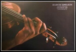 Harvey Edwards Violin Vintage Offset Lithograph Art Show Los Angeles '80s OBO