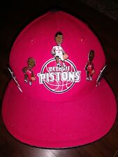 Adidas Detroit Pistons Fitted Hat Size 7 1/2 five Bobblehead Pins # 1 3 12 22 36