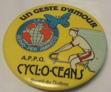 """Vintage 2"""" Promo Button Pinback SURETE DU QUEBEC Ancien Macaron CYCL-O-CEANS S.Q"""
