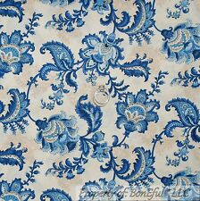 BonEful Fabric FQ Cotton Quilt Cream Tan Blue Toile Flower Paris French Cottage