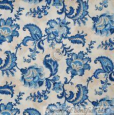 BonEful Fabric FQ Cotton Quilt Cream Tan Blue Toile Flower Paris French Cottage