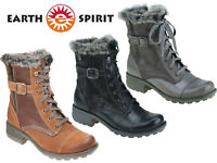 Earth Spirit Winter Boots Ladies Mid Calf Leather Faux Fur Buckle Lace Zip Shoes