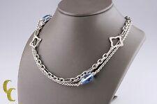 "David Yurman Sterling Silver Bijoux Blue Topaz Quatrefoil Chain Necklace 32"""