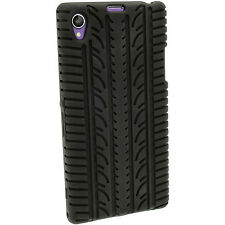 iGadgitz Black Silicone Skin Case Cover With Tyre Tread Design for Sony Xperia Z