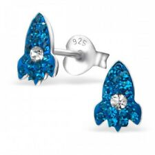Girls / boys blue rocket ship crystal stud earrings sterling silver- Pouch