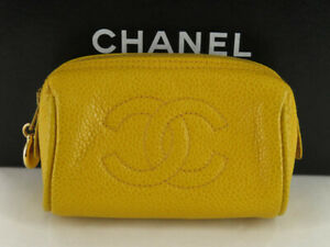 CHANEL CC YELLOW CAVIAR SKIN MINI POUCH EY633