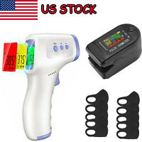 Digital Infrared Fever Thermometer Forehead Baby Adlut Temperature Gun+ Oximeter