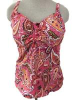 Lands End tankini TOP Only size 16 MAST bathing suit padded bra pink paisley