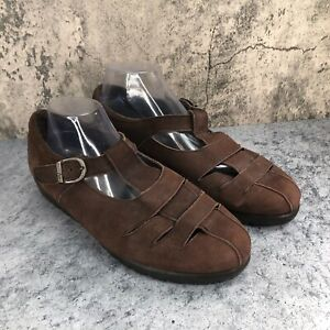 Munro Women's Brown Nubuck Mary JAne Loafer Shoes Size 11.5 WW, Extra Wide