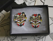 Sailor Jerry Stewed Screwed & Tattooed Earrings - Navy Rockabilly Tattoo Vintage