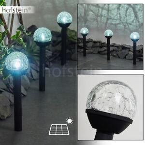 Solar LED Terrassen Leuchte Garten Beleuchtung Aussen Wege Lampen Glas 3-er Set