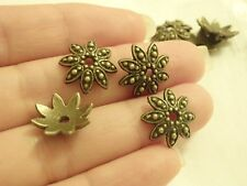 10 large flower beads caps spacers bronze antique jewellery making wholesale UK