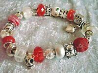 24 Beads + Dangle ohne Armband silber rot weiß Schmuck Adventskalender NEU