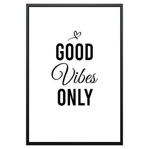 Good Vibes Only Love Typography Print Poster Family Love Home Wall Quote Gift