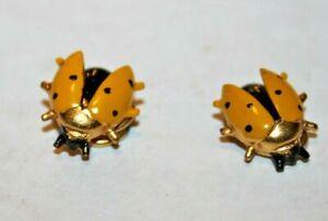Vintage Blouse Button Covers Set of 2 Lady Bug Yellow Black spots metal closure