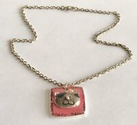 AJM Vintage MEOW Pink Enamel Rhinestone Cat Pendant Silver Tone Chain Necklace