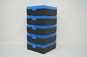BERRY'S PLASTIC AMMO BOXES (5) BLUE 100 Rounds of Storage for the 38 / 357