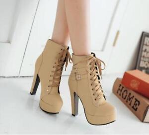Women  Faux Leather Lace Up Platform Block High Heel Buckle Boots Shoes Plus sz