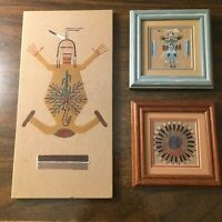 "Handmade Sand Art Lot of 3 Southwestern - 2 are 5"" x 5"" - & 6 x 12"" - Dancers"
