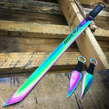 "28"" RAINBOW NINJA SWORD Full Tang Machete Tactical Blade Katana Throwing Knife"
