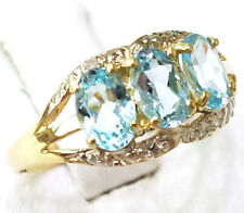 SYJEWELLERY 9CT YELLOW GOLD NATURAL OVAL BLUE TOPAZ & DIAMOND RING SIZE N R978