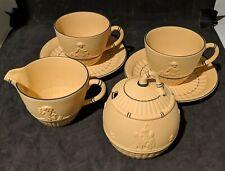 Wedgwood Black on Cane Yellow Jasperware sugar bowl creamer & 2 teacups/saucers